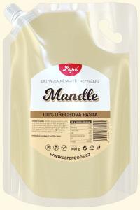 Mandle - Jemná pasta z blašírovaných (bílých) nepražených mandlí. Mandle mají velký obsah bílkovin a aminokyselin, takže jsou vhodné zejména pro sportovce. Ideální do snídaňových kaší, ovocných a zeleninových salátů. Přidáním cukru a vody vytvoříte výborný marcipán. Smícháním s vodou připravíte mandlové mléko.