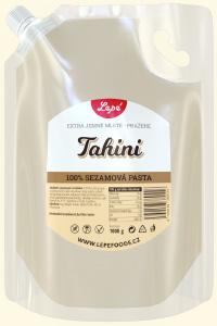 Tahini - Jemná pasta z lehce opraženého sezamu bez přidaného oleje a soli. Používá se v blízkovýchodní a balkánské kuchyni k přípravě hummusu a chalvy. Výborná je také do zeleninových i ovocných salátů. Bohatá na vápník, aminokyseliny, omega-3 a omega-6 mastné kyseliny a mangan.