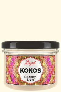 Kokos - Sladký kokosový krém k přímé konzumaci, vhodný ale též jako náplň dortů a jiných cukrářských výrobků, do cereálií, kaší nebo jako pomazánka na bílé pečivo, wafle a palačinky. Při teplotě pod 25 °C tuhne.