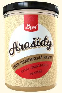 Arašídy - Pasta vyrobená výhradně z pražených arašídů bez přidaného oleje. Jemnější než klasické arašídové máslo. Vhodná jako pomazánka na pečivo a palačinky nebo jako zálivka ovocných a zeleninových salátů, do těst na sušenky a vánoční cukroví.